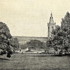 Sady na Karlově náměstí v Praze v roce 1890