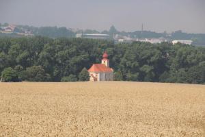 Malebný kostelík sv. Martina stojí osamocen v dominantní poloze na návrší
